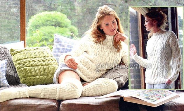 свитер с узором из кос и жгутов описание выкройка схема