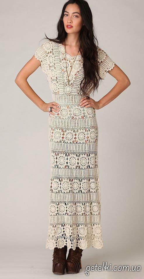 нарядное длинное платье крючком описание и схемы вязания