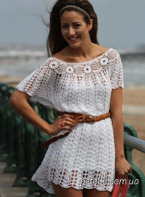 красивое летнее платье крючком схемы вязания