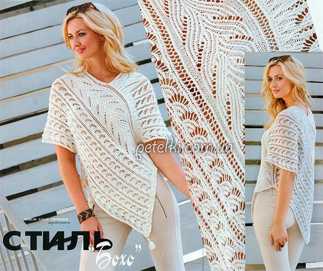 туника спицами в стиле бохо описание схемы вязания