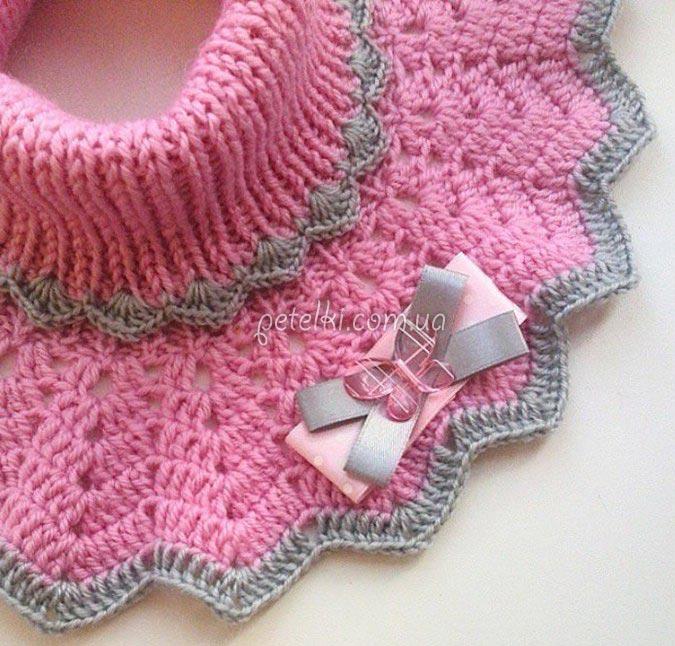 манишка для девочки спицы крючок описание схема вязания