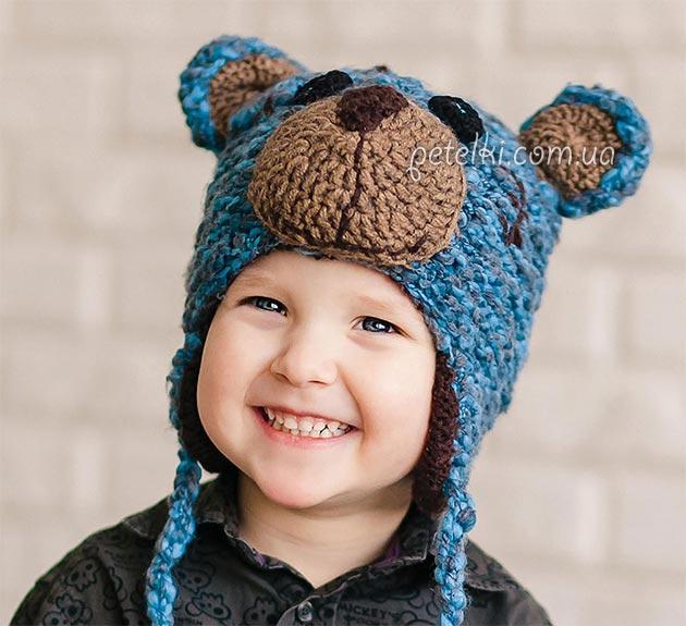 шапочка мишка тедди для мальчика описание вязания