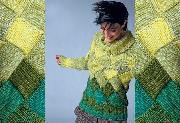 свитер в технике энтерлак как вязать
