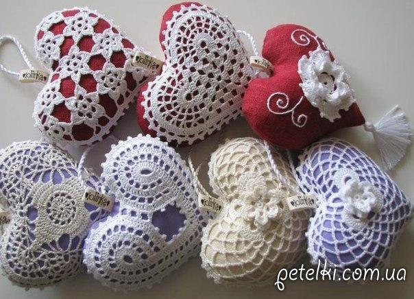 сувенирные вязаные сердечки на день святого валентина схемы