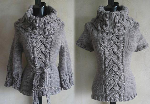 шикарный свитер спицами косами описание вязания схемы