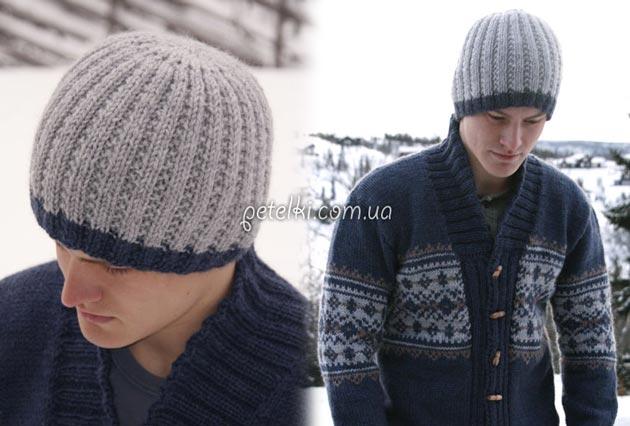 мужская шапка спицами схема описание вязания