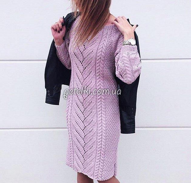 теплое платье с центральным узором описание схемы