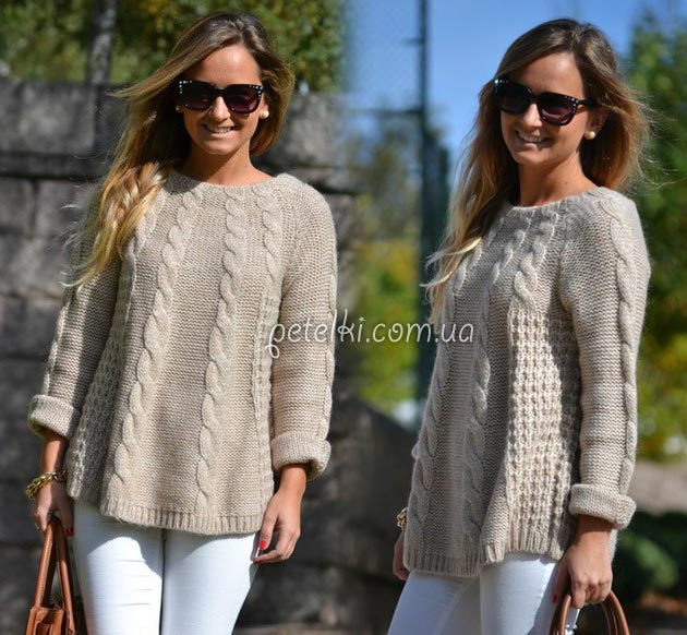 пуловер туника спицами схемы выкройка
