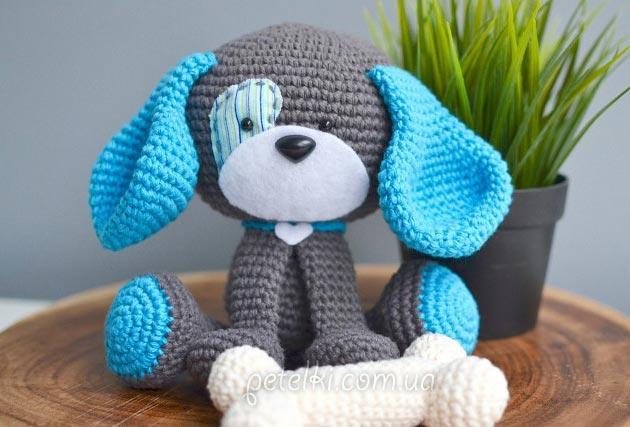 забавная собачка амигуруми описание вязания