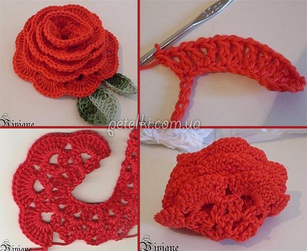 объемная роза крючком мастеркласс по вязанию