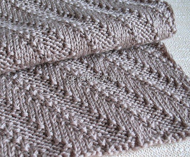 двусторонний шарф диагонали схема и описание вязания