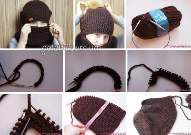 универсальная шапка бини и снуд просто и доступно описание вязания