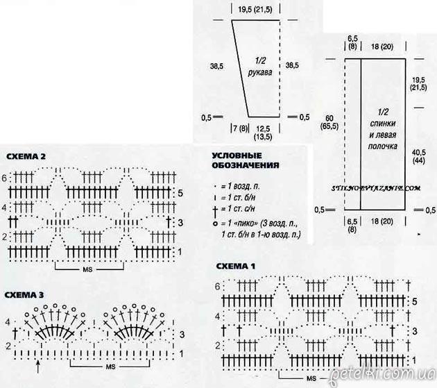 серый жакет крючком от светланы заец описание и схемы вязания